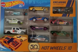 50th Anniversary Hot Wheels10  | Model Vehicle Sets | HW 2018 - Hot Wheels 10 50th Anniversary Set - With 9 Cars and 1 Exclusively decorated Black Gasser - Limited Quantities