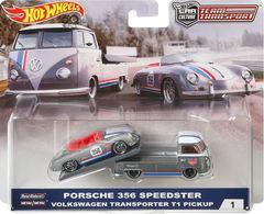 Porsche 356 Speedster - Volkswagen Transporter T1 Pickup | Model Vehicle Sets | Hot Wheels Car Culture Team Transport Porsche with T1 Transporter