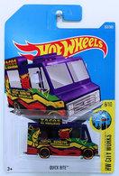 Quick Bite | Model Trucks | HW 2017 - Collector # 332/365 - HW City Works 8/10 - Quick Bite (Ice Cream Truck) - Purple - International Long Card