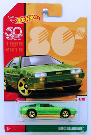 DMC Delorean | Model Cars | HW 2018 - 50th Anniversary / Throwback Collection 4/10 - DMC Delorean - Lime Green