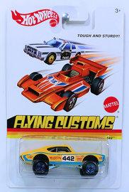 '70 Oldsmobile 442   Model Cars   HW 2013 - Flying Customs # X8176 - '70 Oldsmobile 442 (4X4) - Yellow - Blue CT Off-Road Wheels - Metal/Metal