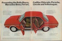 Presenting The Rolls-Royce, Porsche, Mercedes-Benz, Ferrari, Lincoln, And Volkswagen.  | Print Ads