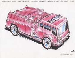 Matchbox 2002 Fire Vehicle; Hybrid Domestic/Euro Style, 3/4 Front View | Drawings & Paintings