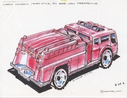 Matchbox 2002 Fire Vehicle; Hybrid Domestic/Euro Style, 3/4 Rear View | Drawings & Paintings