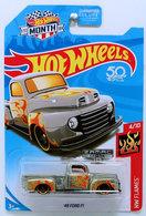 '49 Ford F1 | Model Trucks | HW 2018  - HW Flames 4/10 - '49 Ford F1 - ZAMAC with Orange Flames - USA 50th & MONTH Card