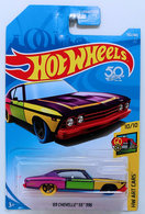 '69 Chevelle SS 396   Model Cars   HW 2018 - Collector # 302/365 - Muscle Mania 10/10 - '69 Chevelle SS 396 - Purple - USA 50th Card