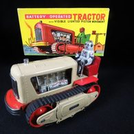Battery operated tractor with visible lighted piston movement tinplate and pressed steel toys 3ef3fac4 9d0f 444c ad94 74469e86294a medium