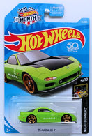 '95 Mazda RX-7 | Model Cars | HW 2018 - Collector # 141/365 - Nightburnerz 4/10 - '95 Mazda RX-7 - Bright Green - USA 50th & MONTH Card