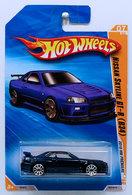 Nissan Skyline GT-R (R34) | Model Cars | HW 2010 - Collector # 007/214 - HW Premiere 07/52 - Nissan Skyline GT-R (R34) - Blue - International Long Card