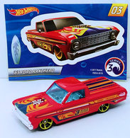 '65 Ford Ranchero | Model Trucks | HW 2018 - Mystery Models Series 3 03/12 - '65 Ford Ranchero - Red / Surf & Rescue - Silver CHASE - Walmart Exclusive