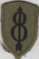 U.S. Army Patch - US 8th Infantry Division OD Cloth Back Type  | Uniform Patches