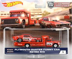 Plymouth Duster Funny Car & Retro Rig | Model Vehicle Sets | Hot Wheels Team Transport Plymouth Duster Funny Car - Retro Rig
