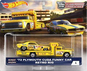 '72 Plymouth Cuda Funny Car & Retro Rig | Model Vehicle Sets | Hot Wheels Team Transport '72 Plymouth Cuda Funny Car - Retro Rig