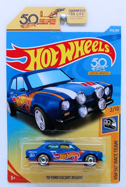 '70 Ford Escort RS1600 | Model Cars | HW 2018 - Collector # 335/365 - HW 50th Race Team 2/10 - '70 Ford Escort RS1600 - Flat Blue - USA 50th Card