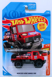 Mercedes-Benz Unimog 1300 | Model Trucks | HW 2019 - Collector # 007/250 - HW Hot Trucks 4/10 - Mercedes-Benz Unimog - Red - USA Card