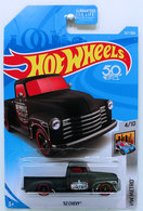 '52 Chevy | Model Trucks | HW 2018 - Collector # 327/365 - HW Metro 4/10 - '52 CHEVY (Pickup Truck) - Matte Black - USA 50th Card  - ERROR - Side Tampos NOT Aligned