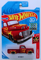 '49 Ford F1 | Model Trucks | HW 2018 - Collector # 085/365 - HW Flames 4/10 - '49 Ford F1 - Metallic Dark Red - USA 50th Card with Factory Set Sticker