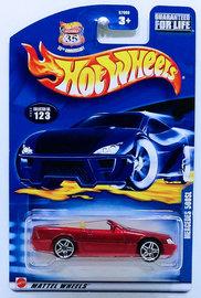 Mercedes 500SL | Model Cars | HW 2003 - Collector # 123/220 - Mercedes 500SL - Metallic Red - USA '35th Anniversary' Card