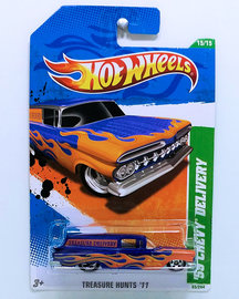 '59 Chevy Delivery | Model Cars | HW 2011 - Collector # 065/244 - Treasure Hunts 15/15 - '59 Chevy Delivery - Purple - USA Card