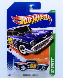 '57 Chevy | Model Cars | HW 2011 - Collector # 052 - Treasure Hunts 2/15 - '57 Chevy - Blue - USA Card