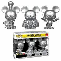 Mickey Mouse (Steamboat Willie, Apprentice, Conductor) (Silver 3-Pack) | Vinyl Art Toys