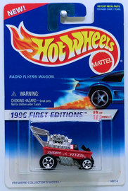 Radio Flyer Wagon       Model Cars   HW 1996 - Collector # 374 - First Editions 9/12 - Radio Flyer Wagon - Red - 5 Spokes - Unpainted Base - USA Blue & White Card