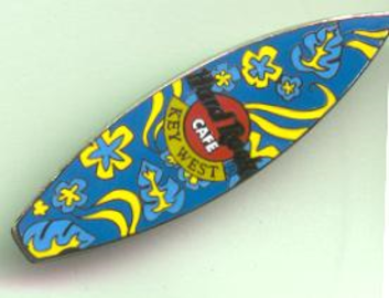 Blue Surfboard With Yellow Floral Designs Pins And Badges Hobbydb