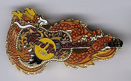 Brown & Gold Gibson Acoustic with Dragon - HRC-.. | Pins & Badges