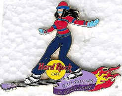 Girl snowboarding on purple flaming guitar | Pins & Badges