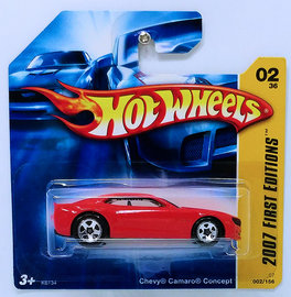 Chevy Camaro Concept | Model Cars | HW 2007 - Collector # 002/156 - First Editions 02/36 - Chevy Camaro Concept - Red - International Short Card