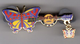 Butterfly Guitar with Dangle   Pins & Badges