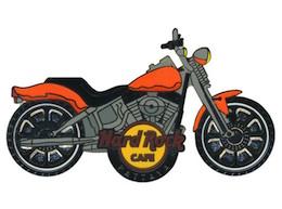 Motorcycle with Orange Fenders & Gas Tank | Pins & Badges
