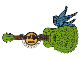 Henna Horizontal Green Guitar w / Bird pin | Pins & Badges