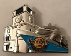 Kotor Old Town Clock Tower with Cruise Ship.  | Pins & Badges