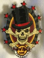 Skull with top hat and red stars | Pins & Badges