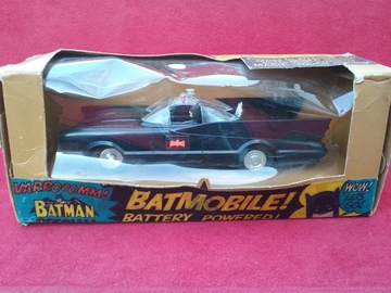 Triang Spot On Batmobile  | Tinplate & Pressed Steel Toys | Triang Spot On Magicar Batmobile One of the rarest & last models to be produced because of a fire at the factory. Fitted with a powerful electric Wrenn Maximiser motor