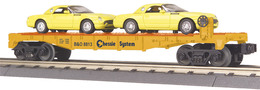O Gauge Rail King Chessie Flat Car W/ (2) Autos - 2000 Ford Thunderbirds (Yellow) | Model Trains (Rolling Stock)