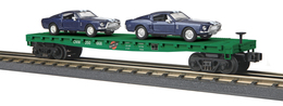 O Gauge Rail King Chicago North Western Flat Car W/(2) '68 Shelby GT Mustangs | Model Trains (Rolling Stock)