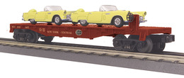 O Gauge Rail King New York Central Flat Car W/(2) Yellow 1956 Ford Thunderbirds | Model Trains (Rolling Stock)