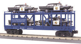 O gauge rail king    baltimore and ohio auto carrier flat car w%252f%25284%2529 1957 ford police cars model trains %2528rolling stock%2529 3b06d831 6a25 45a7 98b5 39af3aa0a1ab medium