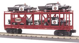 O gauge rail king    new york central auto carrier flat car 328 w%252f%25284%2529 1957 ford police cars model trains %2528rolling stock%2529 0b4cea95 ec2f 4ef6 8ddc a2f78d1e89f3 medium