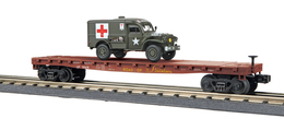 O Gauge Rail King Union Pacific Flat Car 58418 W/Dodge WC-54 Ambulance | Model Trains (Rolling Stock)