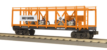O Gauge Rail King Harley-Davidson Flat Car W/(4) 2002 1200cc Sportsters | Model Trains (Rolling Stock)