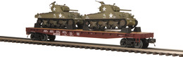 O Gauge Premier Pennsylvania Railroad Flat Car 470158 W/(2) Sherman Tanks | Model Trains (Rolling Stock)