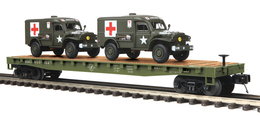 O Scale Premier U.S. Army Flat Car 609152 W/(2) Dodge WC-54 Ambulances | Model Trains (Rolling Stock)
