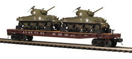 O Scale Premier Atchison, Topeka, & Santa Fe Railway Flat Car 7842 W/(2) M-4 Sherman Tanks | Model Trains (Rolling Stock)