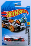 Power Rocket | Model Cars | HW 2018 - Collector # 059/365 - Super Chromes 9/10 - Power Rocket - Chrome - USA 50th Card with Factory Sticker