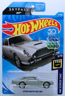 Aston Martin 1963 DB5 | Model Cars | HW 2018 - Collectors # 078/365 - HW Screen Time 3/10 - Aston Martin 1963 DB5 - Silver - USA 50th Card with 'Skyfall 007' & Factory Sticker