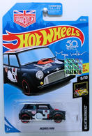 Morris Mini | Model Cars | HW 2018 - Collector # 065/365 - Nightburnerz 8/10 - Morris Mini - Midnight Blue - USA 50th Card with Urban Outlaw Logo & Factory Sticker