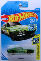 '70 Camaro | Model Cars | HW 2018 - Collector # 028/365 - HW Speed Graphics 7/10 - '70 Camaro - Metallic Green / Hotchkis - USA '50th' Card with Factory Sticker